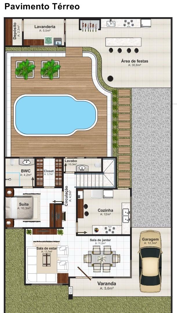 Sobrado brasilia com 3 quartos edicula piscina e garagem for Plantas arquitectonicas de casas