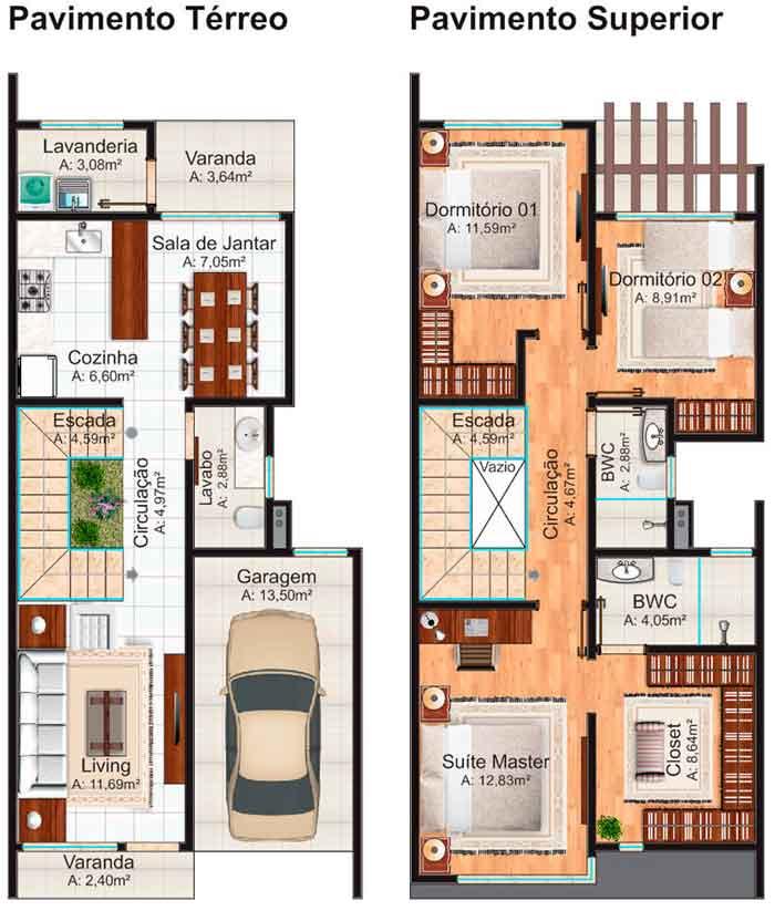 Fabuloso 5 Modelos de plantas de casas geminadas - Plantas de Casas SP11