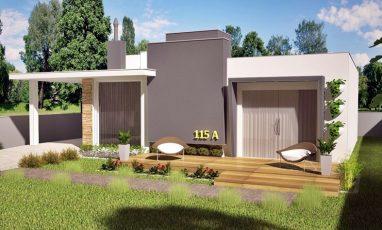 Planta térrea moderna com 3 quartos, garagem