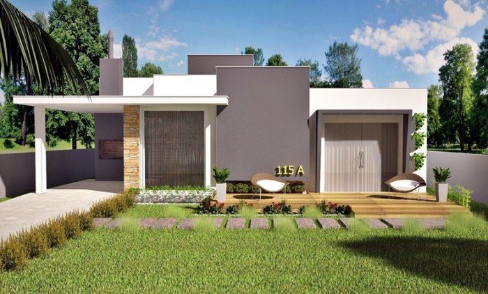Planta térrea com 3 quartos, garagem e deck