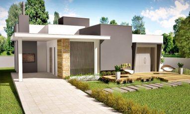 Planta de casa térrea moderna com deck