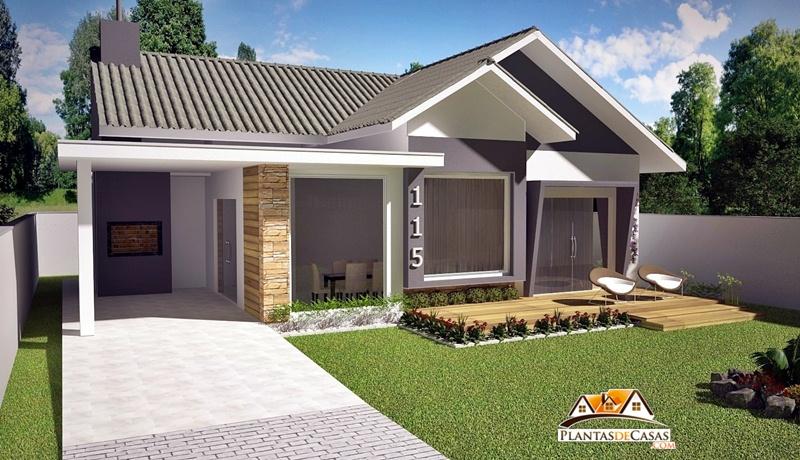 Planta de casa mau projeto com 3 quartos su te e for Modelos de parrillas para casas pequenas