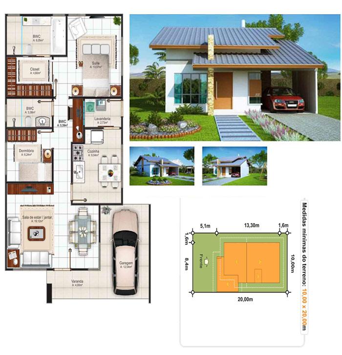 5ae49399f81d7 Plantas de casas até 100 metros quadrados de área total