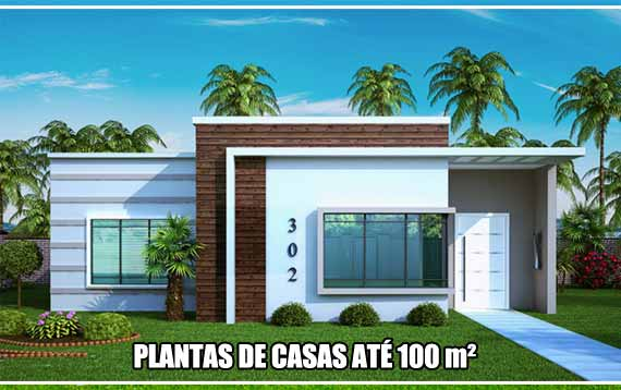 Plantas de casas at 100 metros quadrados de rea total for Casa moderna de 50 m2