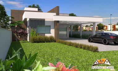 Fachada de planta de casa térrea com garagem