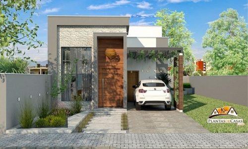 Planta moderna com 3 quartos (1 suíte) e 2 banheiros