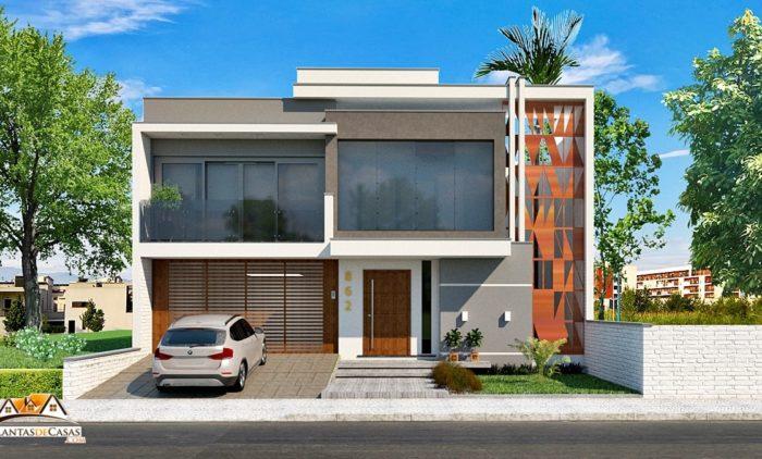 modelo de casa com 3 quartos, piscina e 2 vagas de garagem