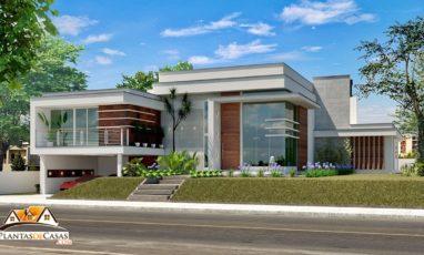 Imagem de Planta de casa moderna com 3 suítes