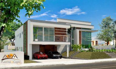 Corte de projeto de casa moderna