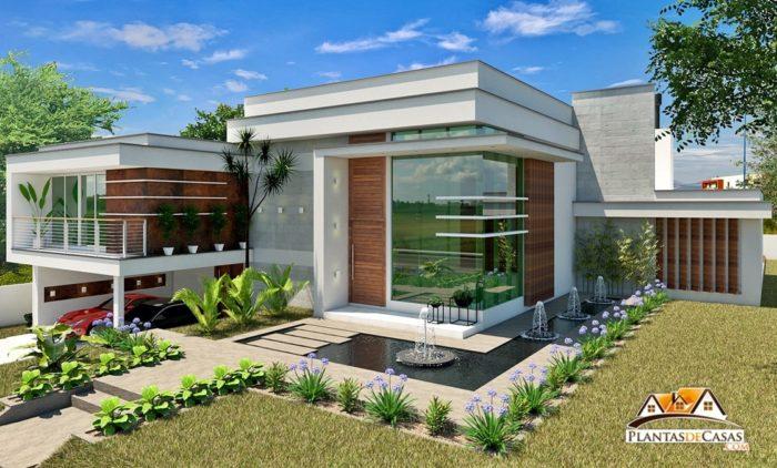 Planta de casa moderna com 3 suítes